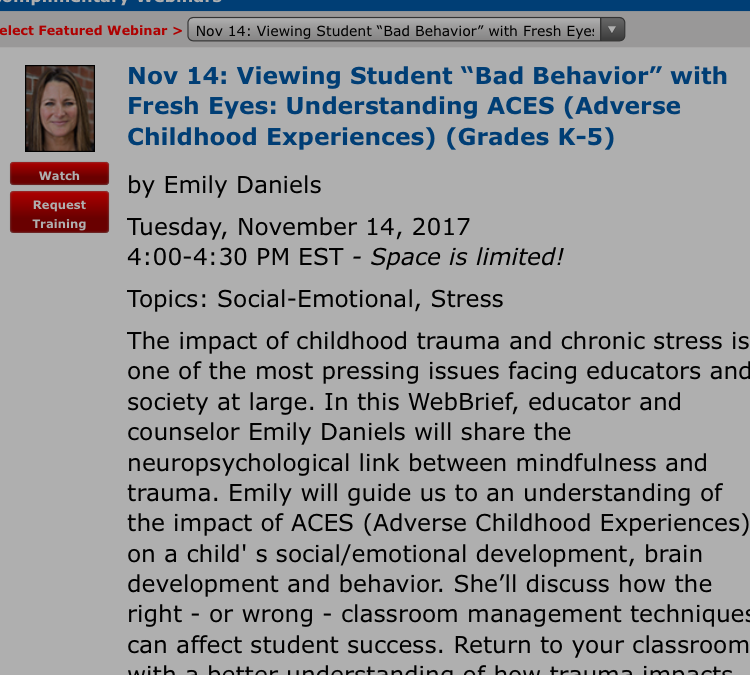 "FREE SDE Webinar ""Viewing 'Bad Behavior' with Fresh Eyes:  Understanding ACES"""
